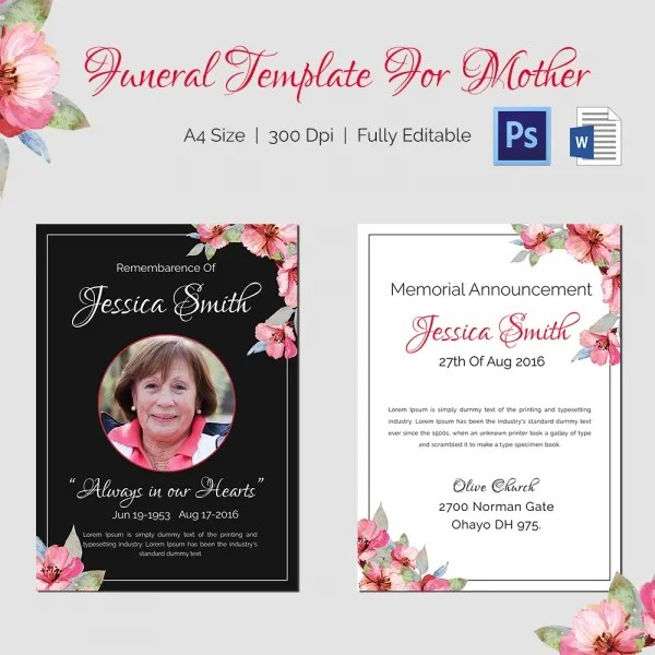 Mother Funeral Template - 5 Word, PSD Format Download Free - free funeral announcement template