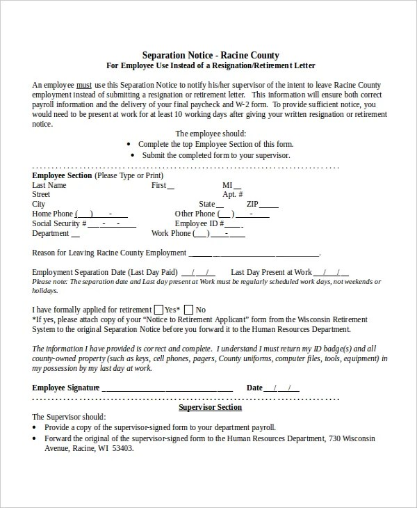 Separation Notice Template - 13+ Free Word, PDF Document Downloads - Employee Separation Letter