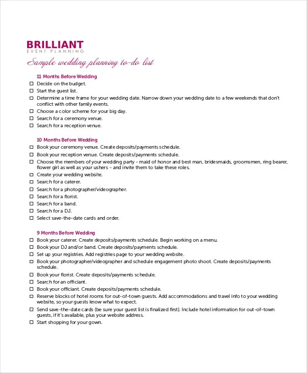 8+ Wedding To Do List - Free Sample, Example, Format Free - sample to do list