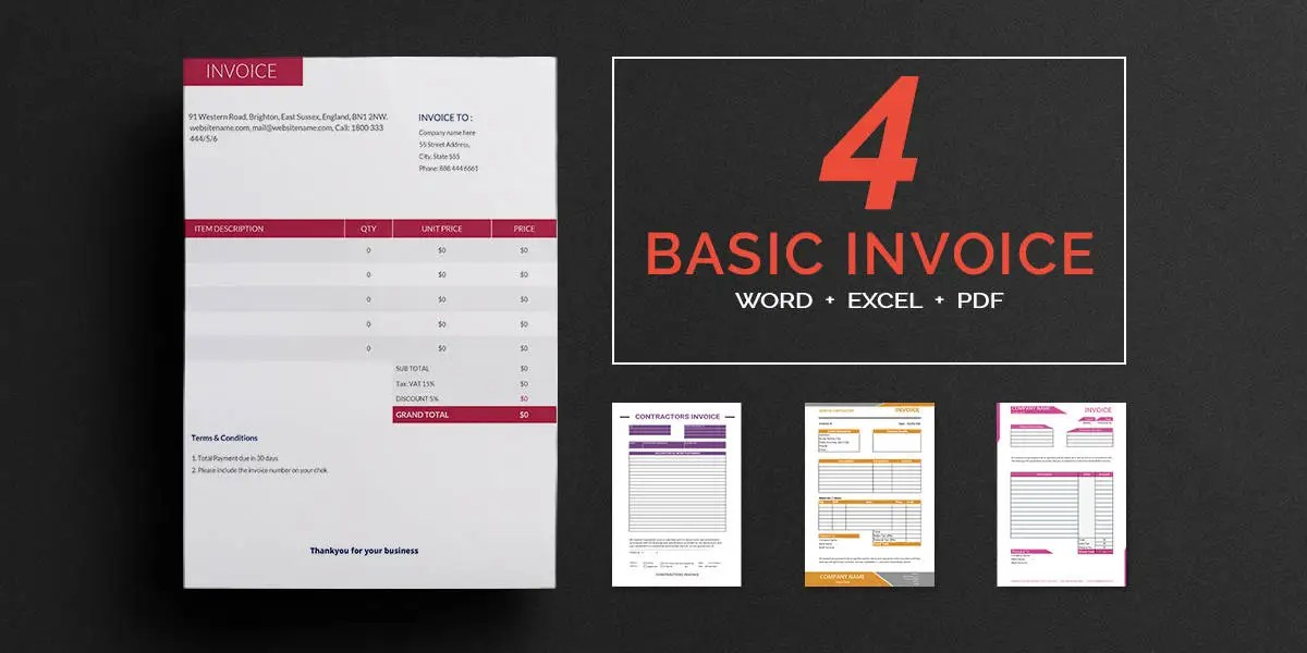 Printable Invoice Template - 12+ Free Word, PDF, Excel Documents - essential invoice elements