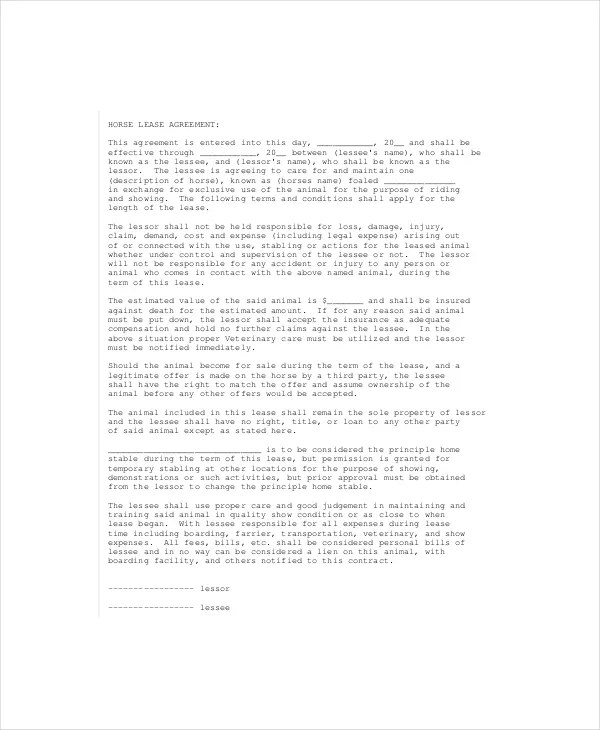 Lease Agreement - 8+ Free Word, PDF Documents Download Free - horse lease agreements