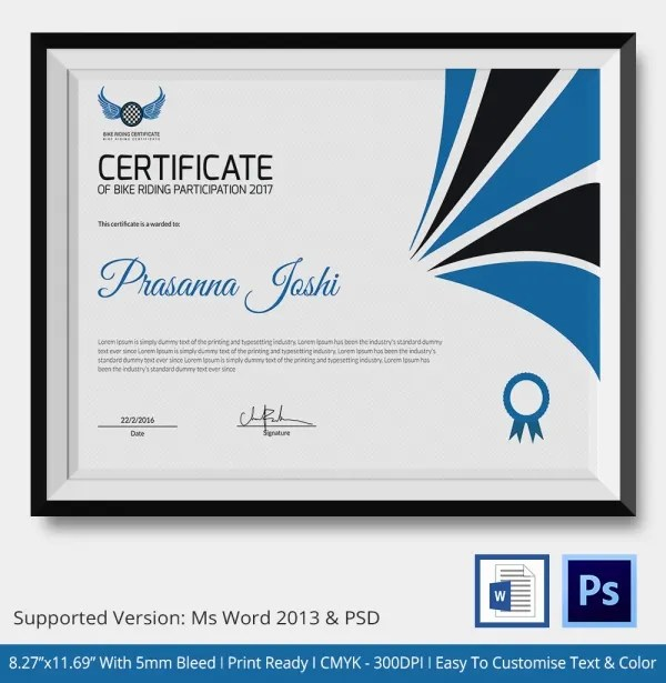 Design Of Certificate Of Participation - Fiveoutsiders - design of certificate of participation