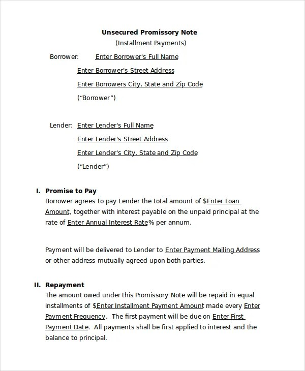 Promissory Note Template - 15+ Free Word, PDF Document Downloads