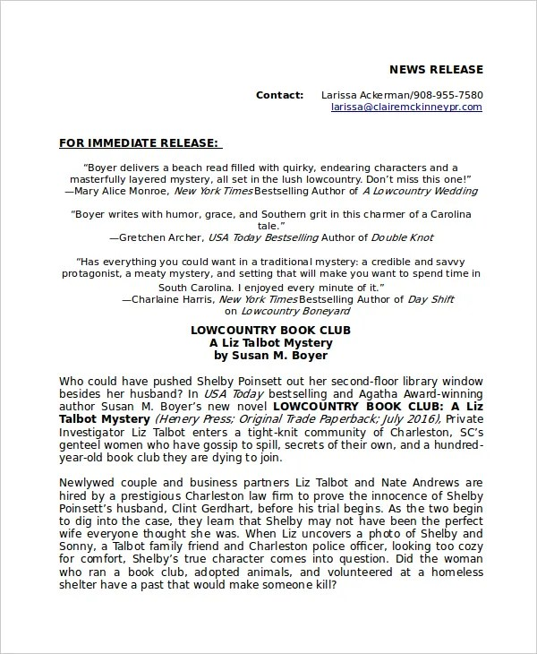 Press Release Template - 20+ Free Word, PDF Document Downloads - press release template