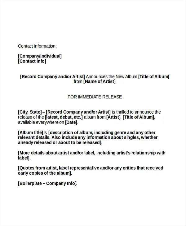 Press Release Template - 20+ Free Word, PDF Document Downloads