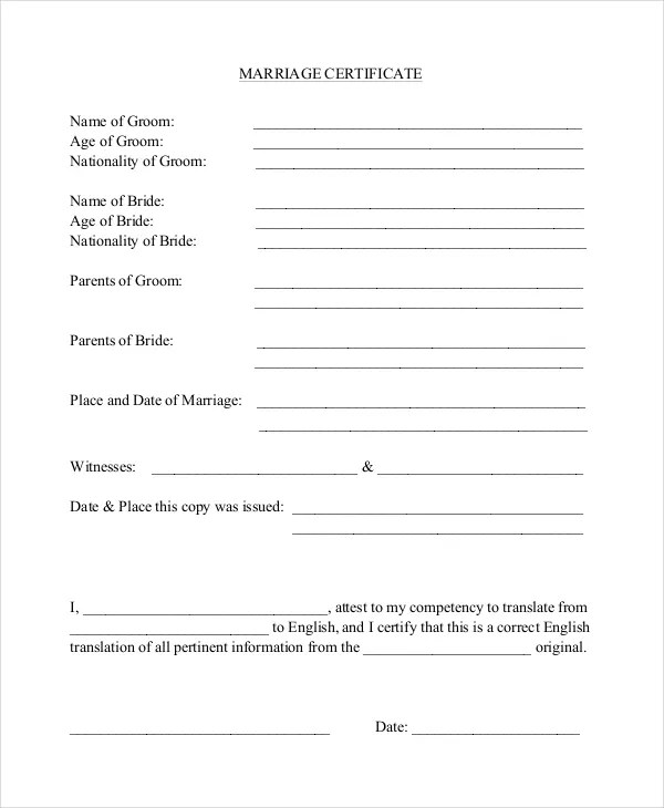 Certificate Template - 12+ Free Word, PDF Document Downloads Free - marriage certificate template