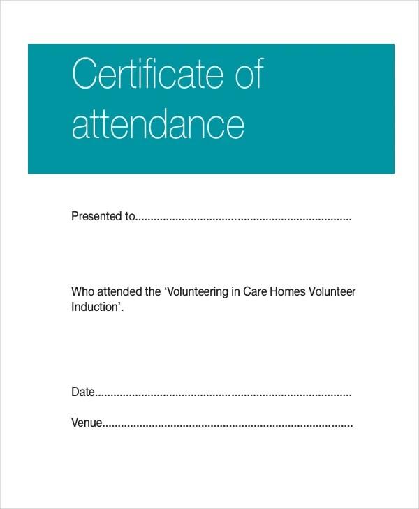 Certificate Template - 12+ Free Word, PDF Document Downloads - attendance certificate template