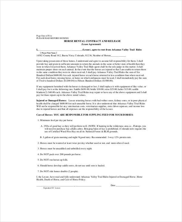 Lease Contract Template - 7+ Free Word, PDF Documents Download - horse lease agreements