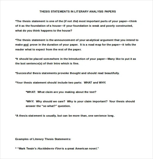7+ Thesis Statement Examples Download in Word, PDF Free  Premium