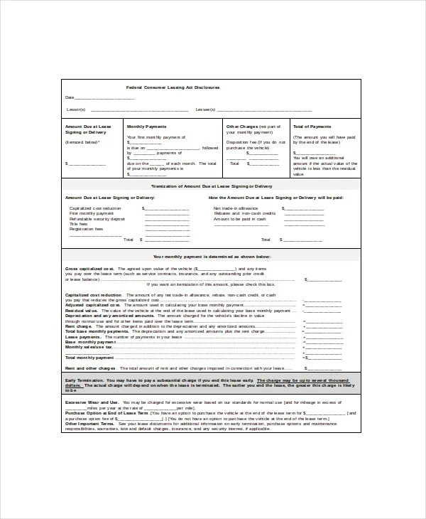 Vehicle Lease Template - 5+ Free Word, PDF Documents Download Free