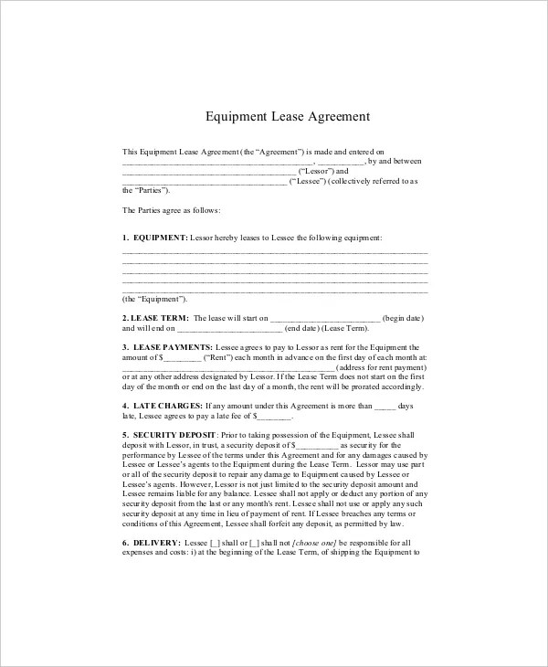 Equipment Lease Template - 8+ Free Word, PDF Documents Download - equipment rental agreement sample