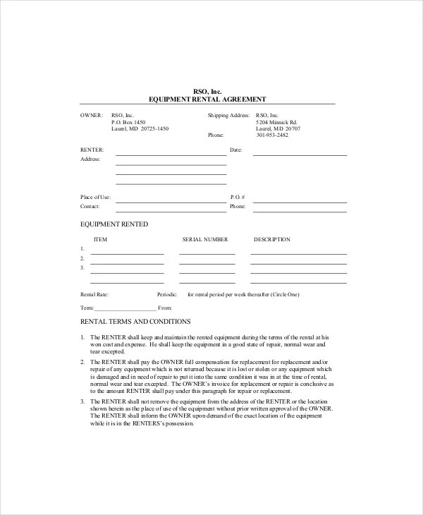 Equipment Lease Template - 8+ Free Word, PDF Documents Download