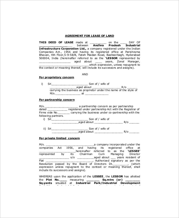 Land Lease Template - 7+ Free Word, PDF Documents Download Free