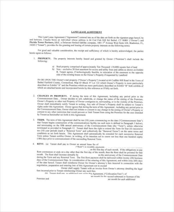 Sample Land Lease Agreement Farm Land Lease Agreement Template 8+ - free simple lease agreement template