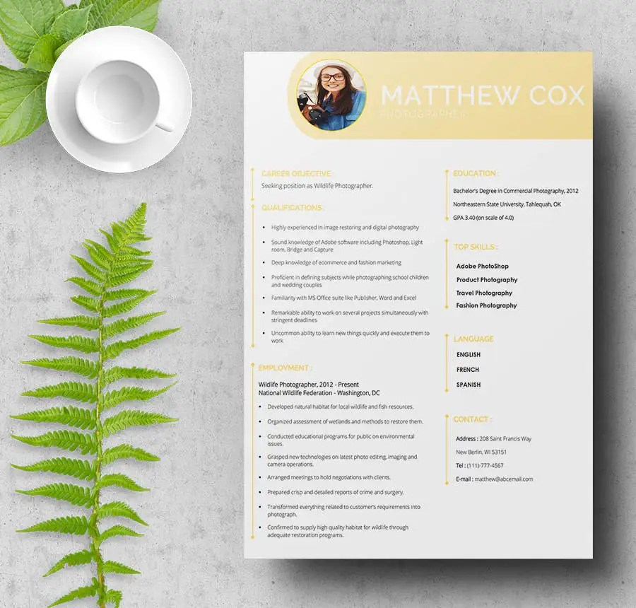 Photographer Assistant Resume Sample Professional Template Wedding - Photographer Resume Samples