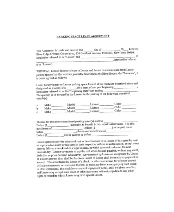 Parking Lease Template - 5+ Free PDF Documents Download Free