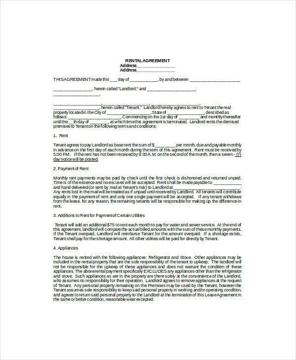 lease example - Maggilocustdesign - free standard lease agreement