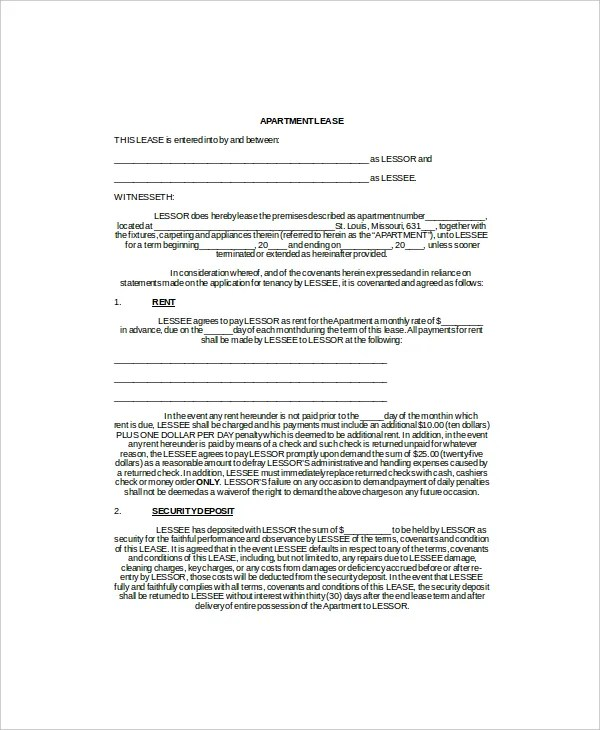 3+ Apartment Lease Templates - Free Sample, Example, Format Free - Apartment Lease Templates