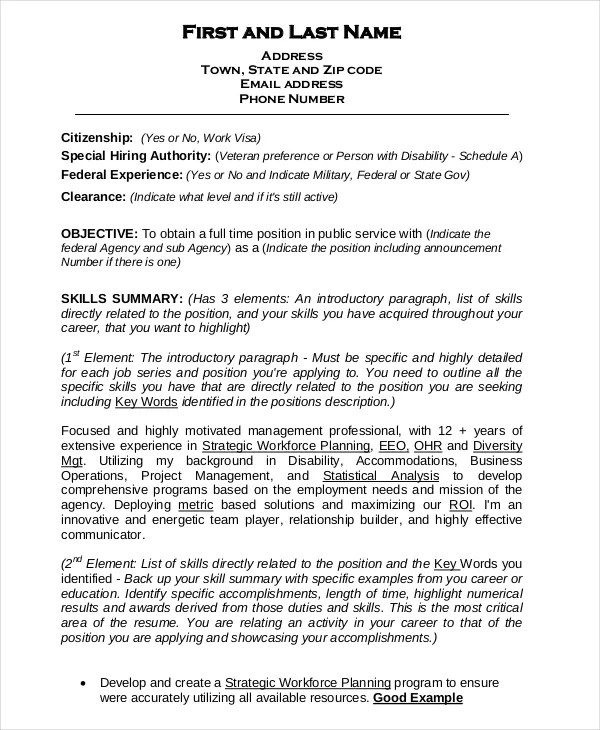 Federal Resume Template -10+ Free Word, Excel, PDF Format Download - Work Resume Template Word