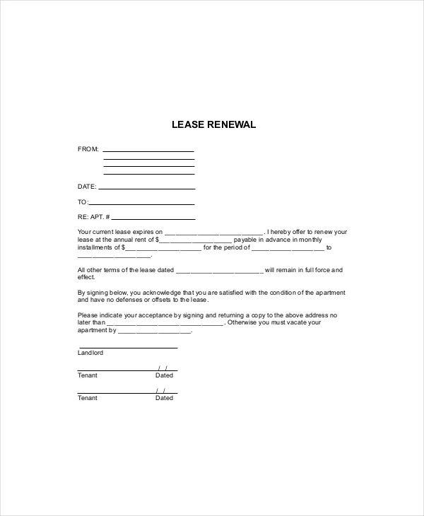 lease renewal sample letter
