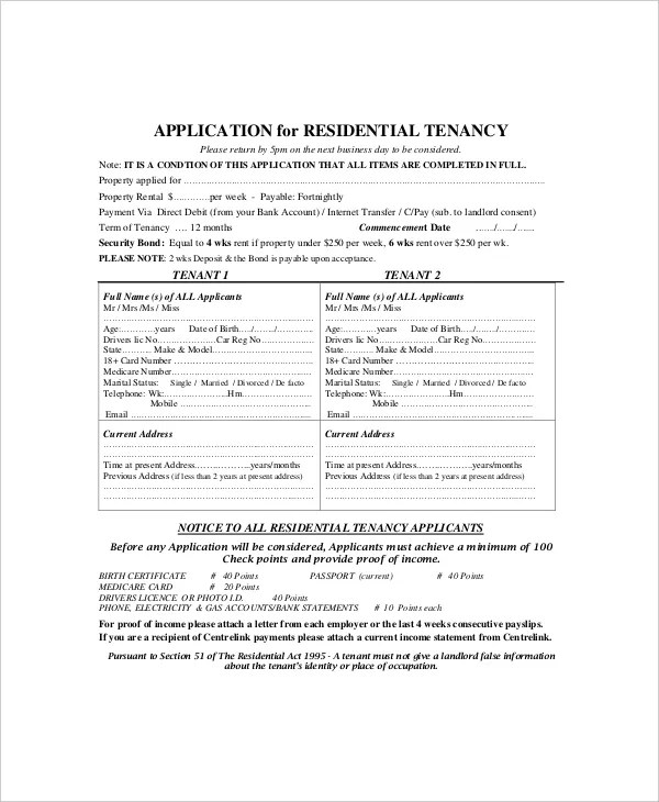 6+ Rental Application Form Templates - Free Sample, Example, Format - medicare application form