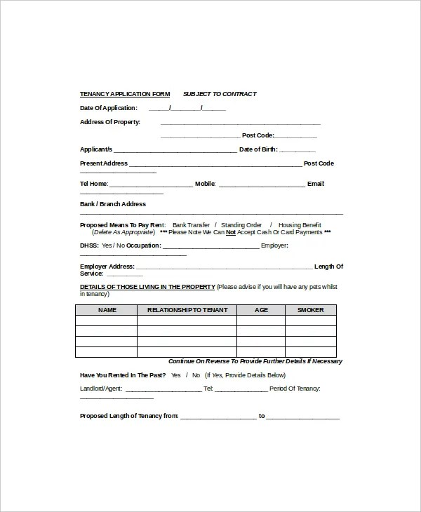 tenant information form template - 28 images - 6 rental application - Tenant Information Form
