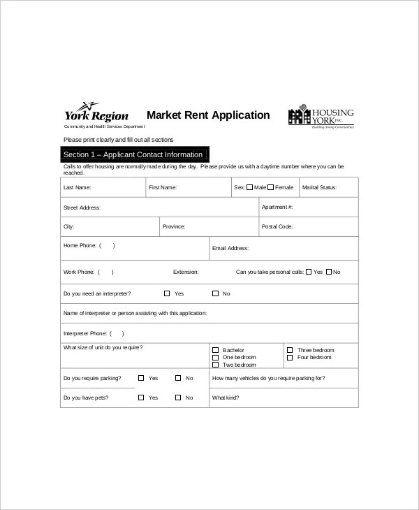 6+ Rental Application Form Templates - Free Sample, Example - apartment application form