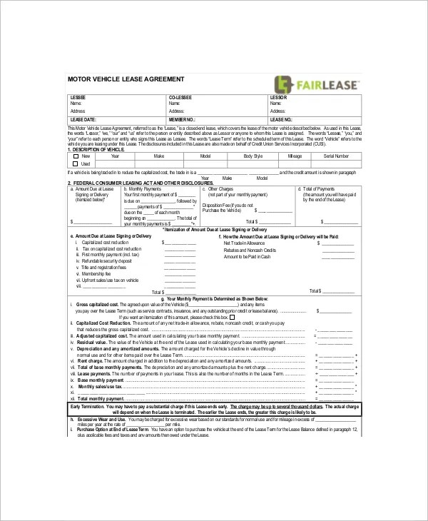 8+ Vehicle Lease Templates - Free Sample, Example, Format Free - vehicle lease agreement templete