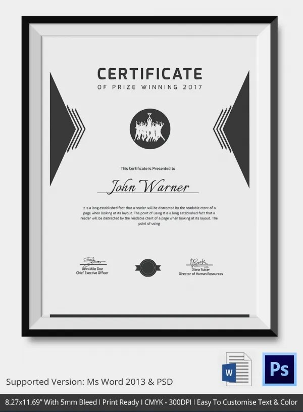 Award Certificate Template - 25+ Word, PDF, PSD Format Download - awards certificates templates for word