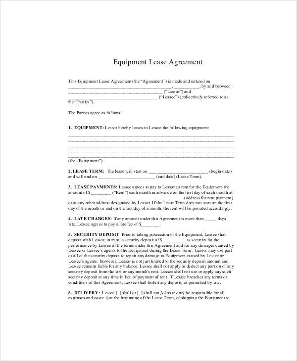 Equipment Lease Agreement Master Equipment Lease Agreement Sample - equipment rental agreement sample