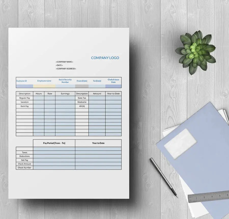 15+ Free Pay Stub Templates - Corporate, Employee, Company - payroll stub template free
