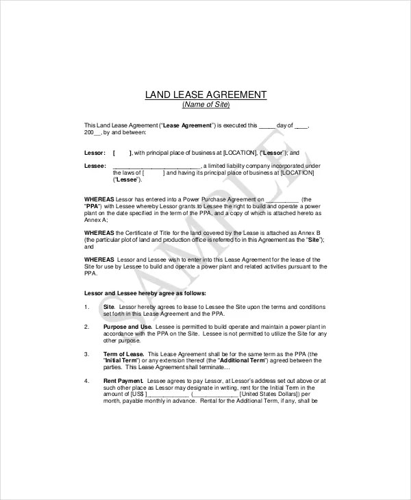 7+ Land Lease Templates - Free Sample, Example, Format Free - sample land lease agreement