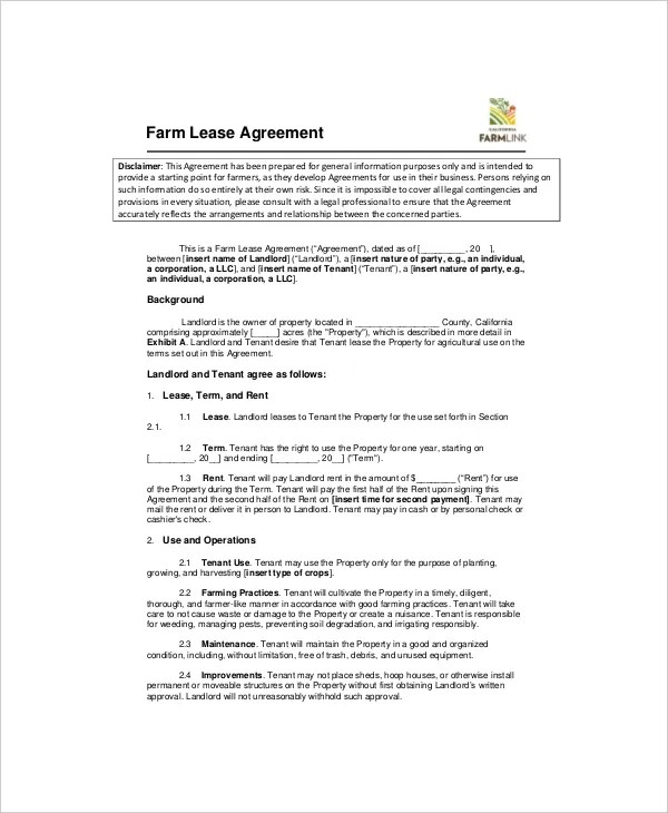 7+ Land Lease Templates - Free Sample, Example, Format Free - free simple lease agreement template