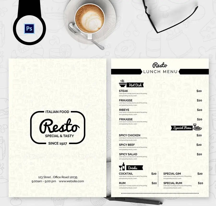 restaurant menu template free download