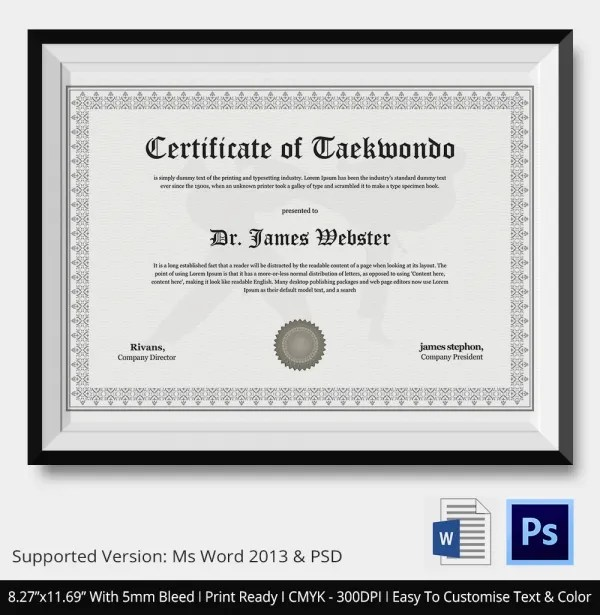 Teakwondo Certificate - 5+ Word, PSD Format Download Free