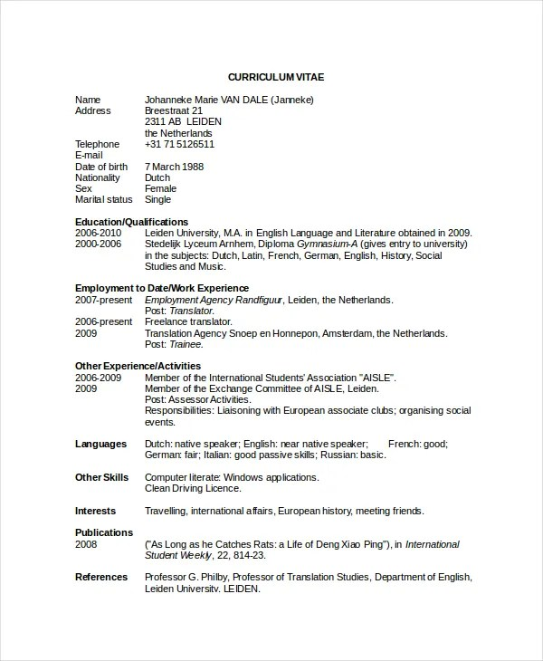 Executive Classic Format Resume Template Word  Create