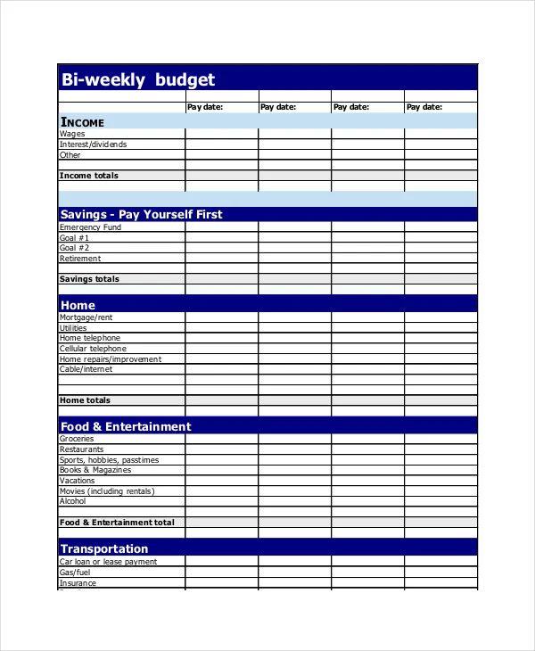 biweekly budget template