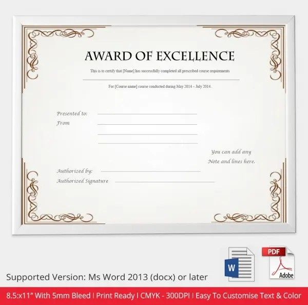 Free Certificate Template - 9+ Free Word, PDF Documents Download - certificate of excellence template word