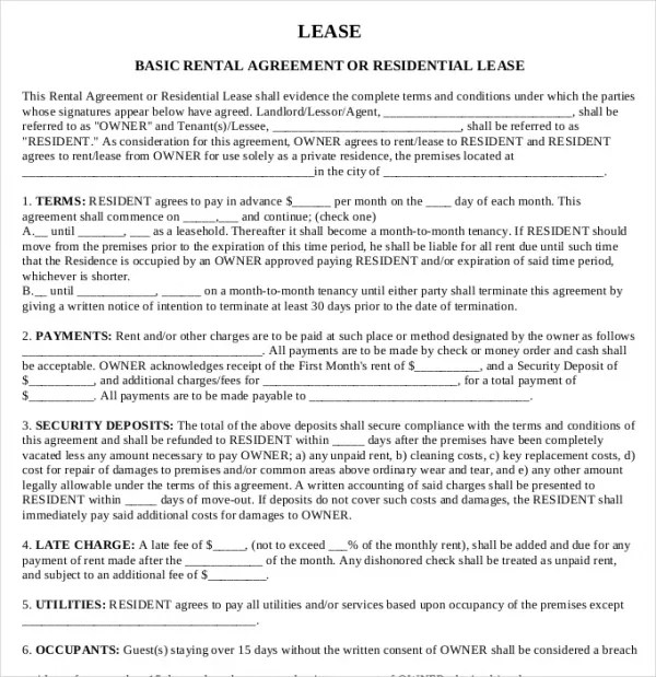 Basic Lease Agreements Basic ShortTerm Lease Agreement Template - lease forms free print