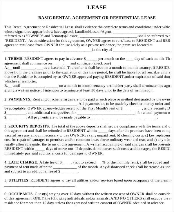 sample land lease agreement hitecauto - printable rental agreements