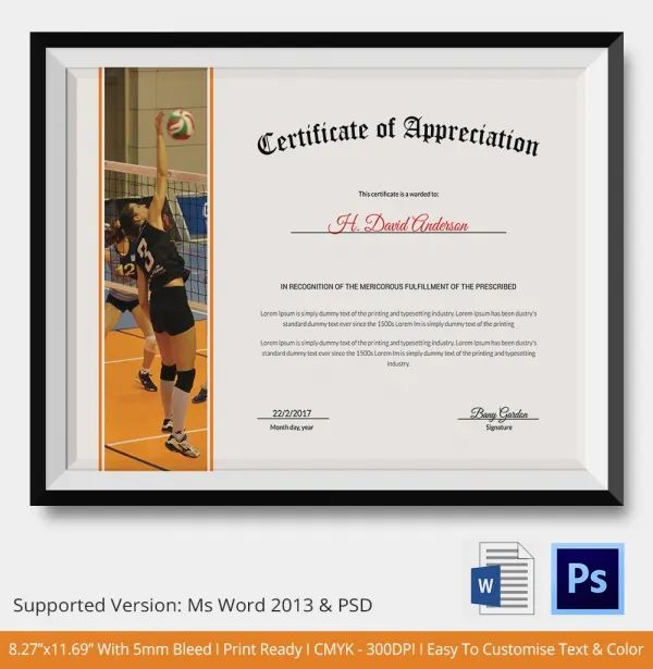 volleyball certificate template