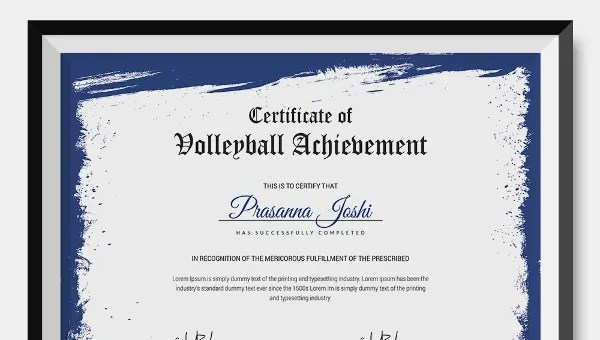 VolleyBall Certificate - 3 Word, PDF Documents Download Free