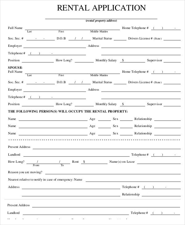 house rental application form pdf