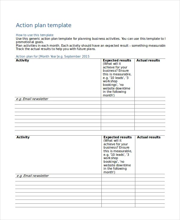 Action Plan Templates - 9+ Free Word, PDF Documents Download Free - action plan template for business