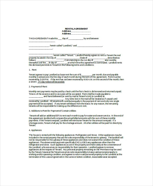 Lease Template 7+ Free Word Documents Download Free  Premium - lease template word