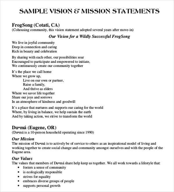 Sample Vision Statement Best 20+ Vision Statement Ideas On - purpose statement template