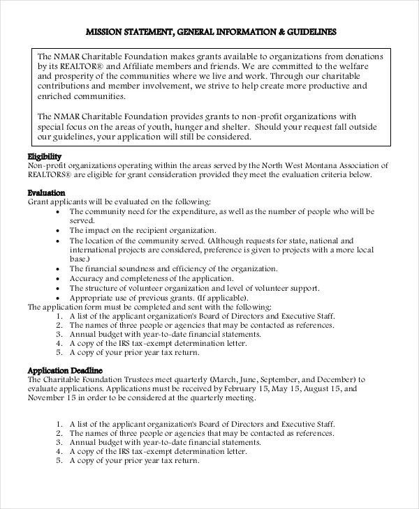 Charity Mission Statement Examples Gallery - example cover letter - Charity Evaluation