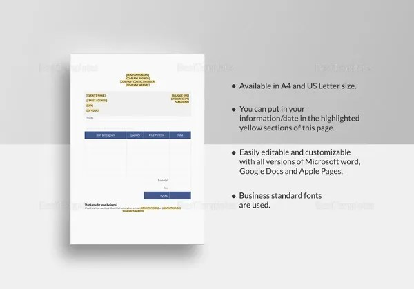 Cake Invoice Template - 11+ Free Word, PDF Documents Download - pages invoice template