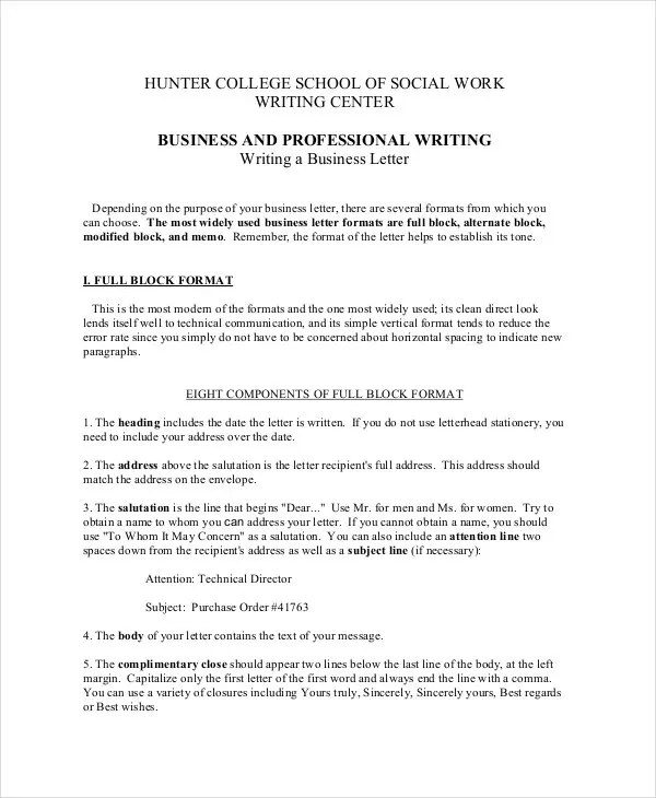Business Letter Format - 12+ Free Word, PDF Documents Download - Professional Business Letter Format