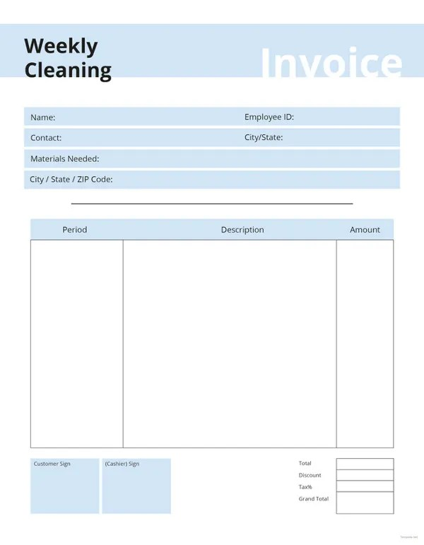 Cleaning Invoice Template- 7+ Free Word, PDF Documents Download - invoice style